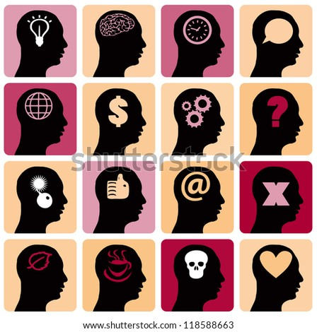 Vector Icons set head think silhoutte vector man and his mind