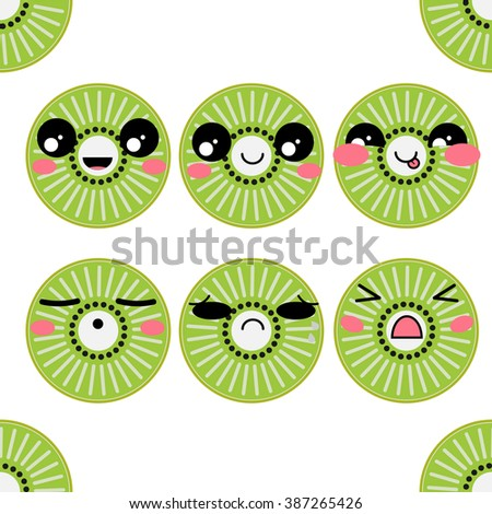 vector icons set kawaii kiwi