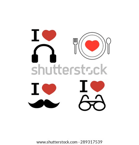 vector icons set love