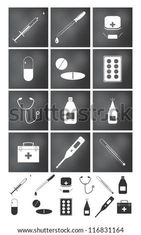 Vector icons set. Medicine and doctor collection.
