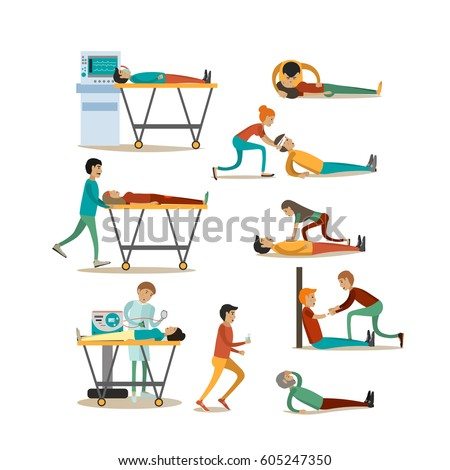 Vector icons set of emergency first aid people isolated on white background. Cardiopulmonary resuscitation and other procedures of first aid design elements in flat style.