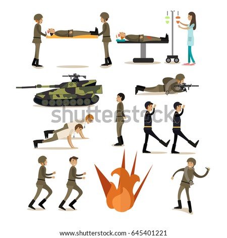 vector icons set of military