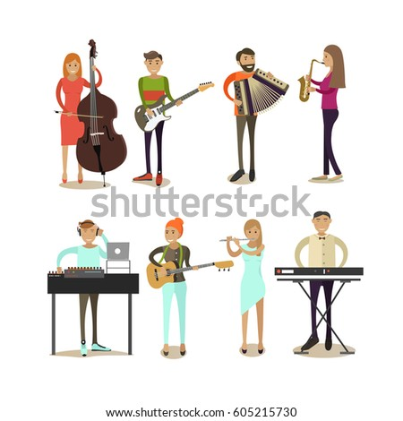 Vector icons set of musician people isolated on white background. Guitarist, bassist, saxophonist, disc jockey , keyboardist, flutist, accordionist flat style design elements.
