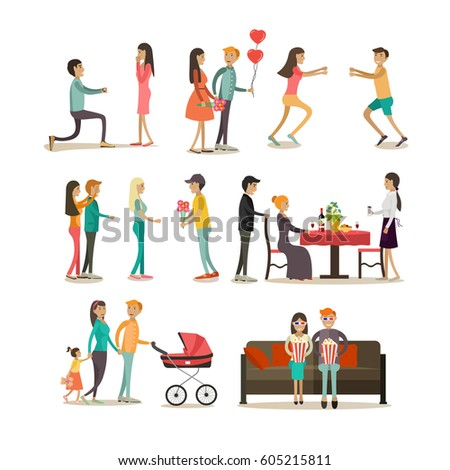 vector icons set of people in