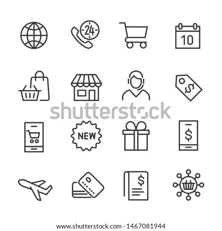 Vector icons set of shopping.