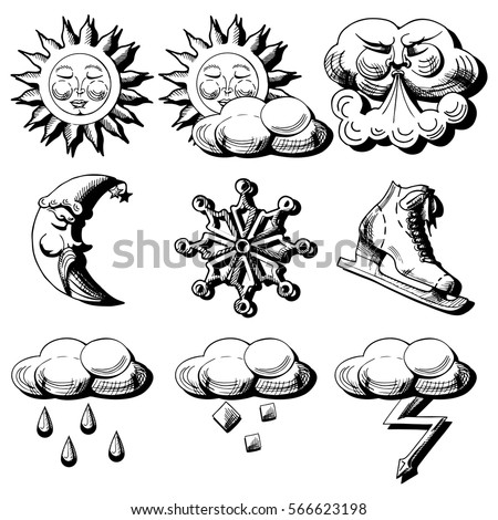 vector icons set of weather...