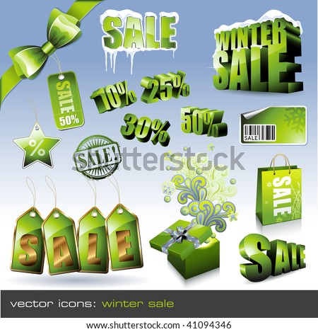 vector icons: winter sale - different green tags, labels and 3d-elements