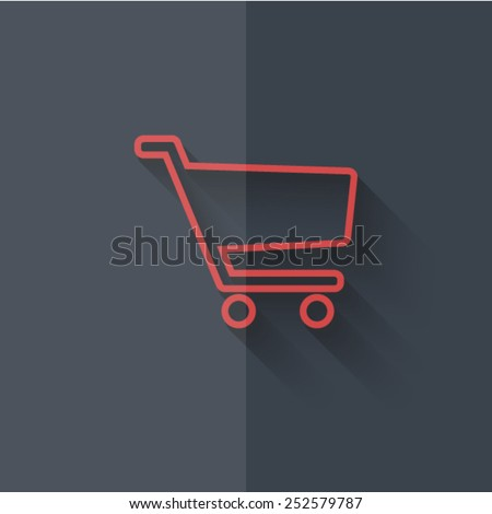 "Vector icons with shadow on gray background ""cart"""