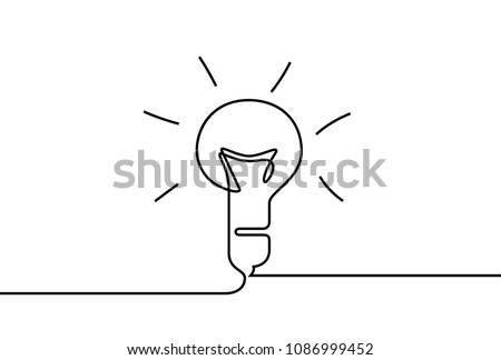 Vector idea lamp. One line style illustration
