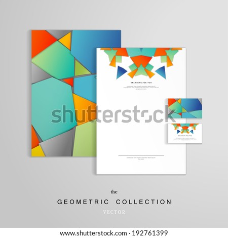 Vector identity templates. Letterhead, folder for documents, business card. Volumetric polygons.