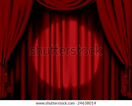 Vector illuminated red curtain - stock vector