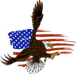 vector illustation American eagle against USA flag and white background.