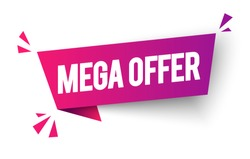 Vector Illustragtion Mega Offer Label. Colorful Modern Web Banner Element