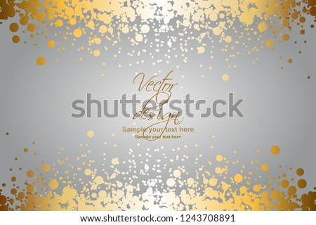 Vector illustrartion of Gold glitter on a gray background. Vector design #1243708891