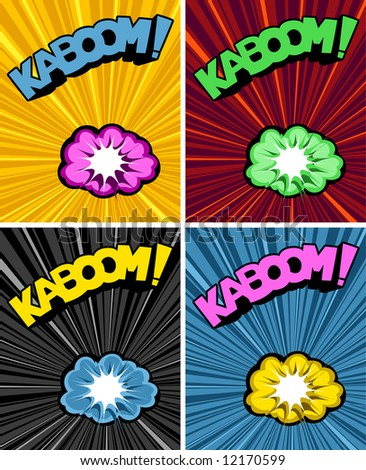 vector illustrated cartoon explosions and text on colourful explosive backgrounds