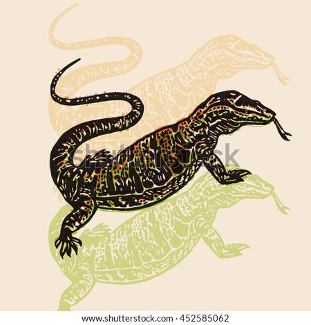 vector illustrated desert varan