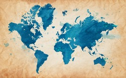 Vector Illustrated map of the world with a textured background and watercolor spots. Grunge background.