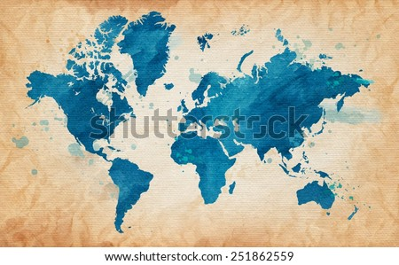 Free watercolor world map vector download free vector art stock vector illustrated map of the world with a textured background and watercolor spots grunge background gumiabroncs Images