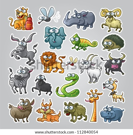 Vector illustrated set of various animals