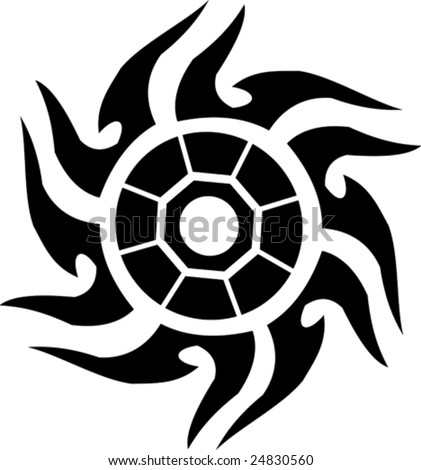 Vector illustrated tatto sun on white background
