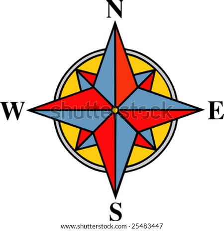 vector illustrated wind rose on