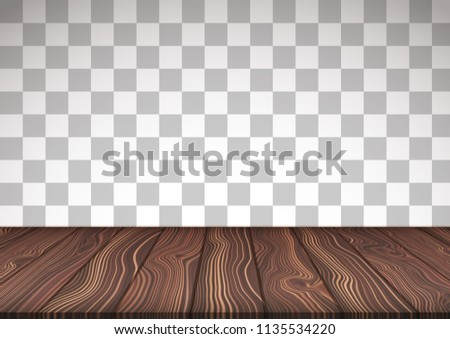 Vector illustrated wooden floor on transparent background. Surface made from natural wood boars.