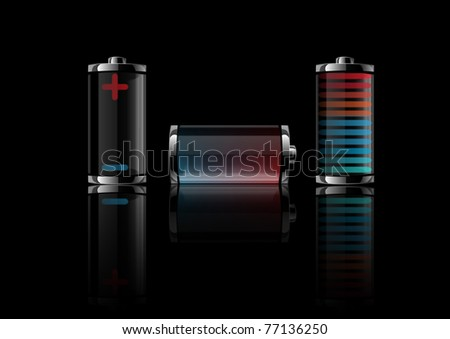 Vector illustration a battery on a black background