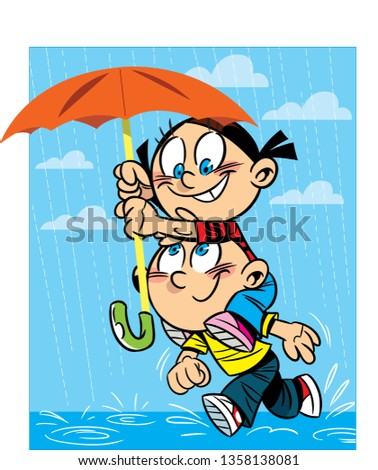 vector illustration a boy and a