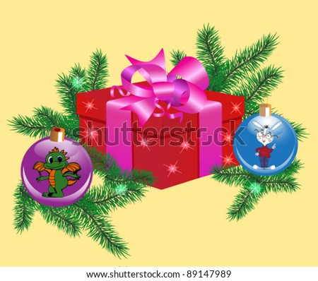 Vector illustration. A Christmas and New Year's card, with a gift box, a fur-tree, Christmas spheres. On spheres a symbol of 2012 a dragon and a symbol of 2011 a rabbit.