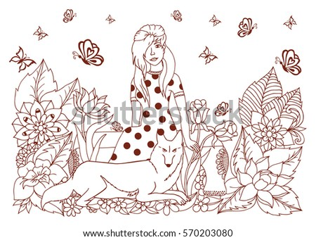 Vector Illustration A Girl Sits On The Bench And At Her Feet Lying Wolf