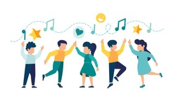 vector illustration, a group of children dancing and having fun to music vector