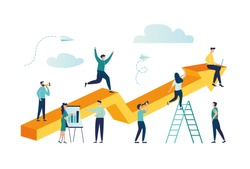 vector illustration a group of people characters are thinking over an idea. prepare a business project start up. rise of the career to success, flat color icons, business analysis - Vector