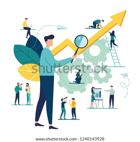 vector illustration a group of people characters are thinking over an idea. prepare a business project start up. rise of the career to success, flat color icons, business analysis