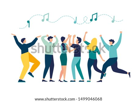 vector illustration, a group of people dancing and having fun to the music vector