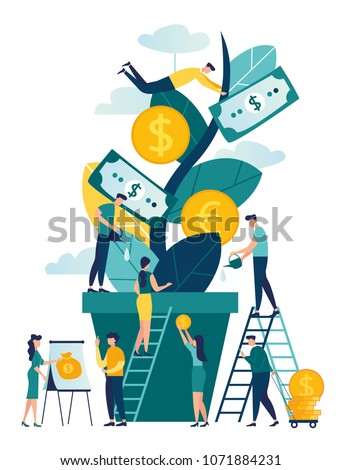 Vector illustration, a growing tree with coins and money, caring for a tree watering coins, growing and making money, profit, the concept of financial management, a symbol of successful business