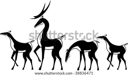 Vector illustration a herd of deer. Black and white.