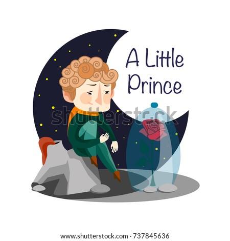 Vector illustration. A little Prince. Rose.  Flowers friend.
