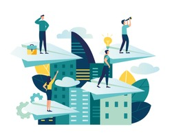 Vector illustration, a man seeks up on a paper plane, achieving a goal, the path to success is motivation, career advancement, search for ideas, teamwork