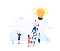 Vector illustration, a man seeks up the stairs, achieving the goal, the path to success is motivation, career advancement, search for ideas. Bright future and success vector illustration isolated.