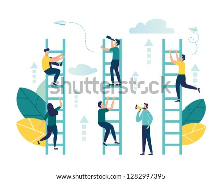 Vector illustration, a man seeks up the stairs, achieving the goal, the path to success is motivation, career advancement, search for ideas