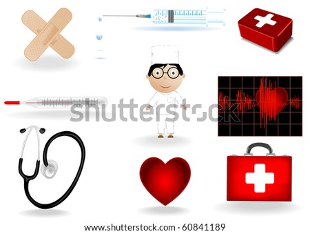 Vector illustration a medical set and the doctor .