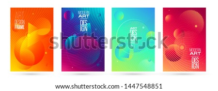 vector illustration. A minimalistic hipster colored frame design. Vector line gradient halftone. frame for text Modern Art graphics. design business cards, invitations, gift cards, flyers ,brochures