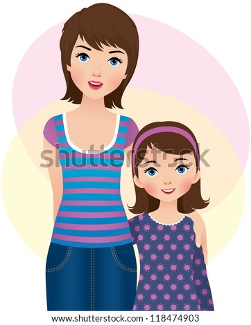 Vector illustration: a mother and daughter/ Mom and daughter