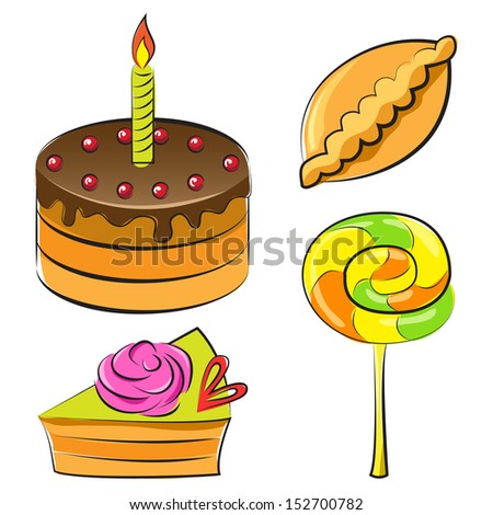 Vector illustration. A set of sweets in colour