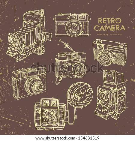 Vector illustration, a set of vintage cameras