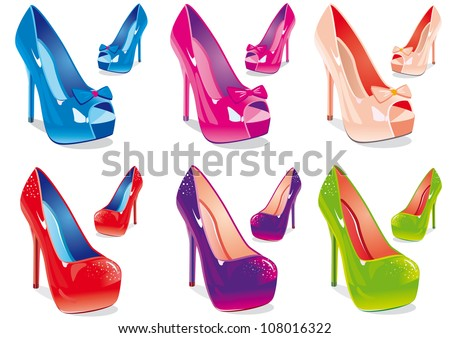 Vector illustration a set of women shoes in different colors
