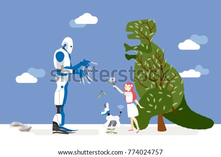 vector illustration about artificial intelligence and it risks.  A little innocent girl interacts with a gardener robot and offers him a flower