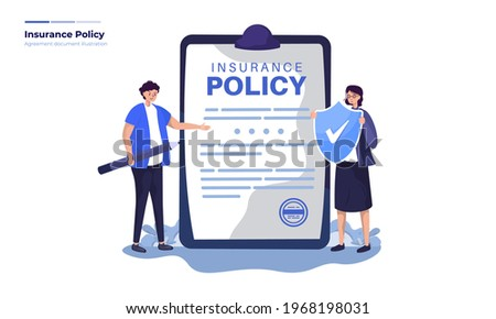 Vector illustration about life insurance policy, Fill out the agreement form to join the insurance