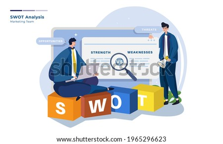 Vector illustration about marketing team with SWOT analysis, Business marketing strategy illustration Foto stock ©