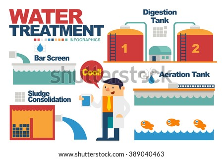 Vector Illustration about Water Treatment Elements for Infographics.